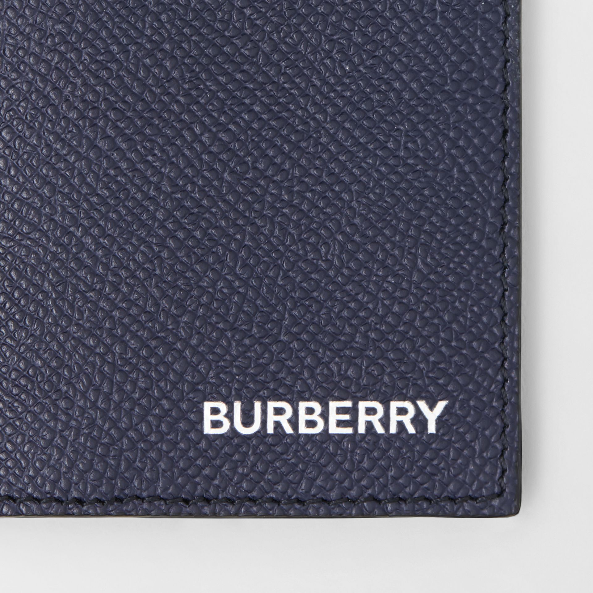 Grainy Leather Bifold Card Case in Regency Blue - Men | Burberry - gallery image 1