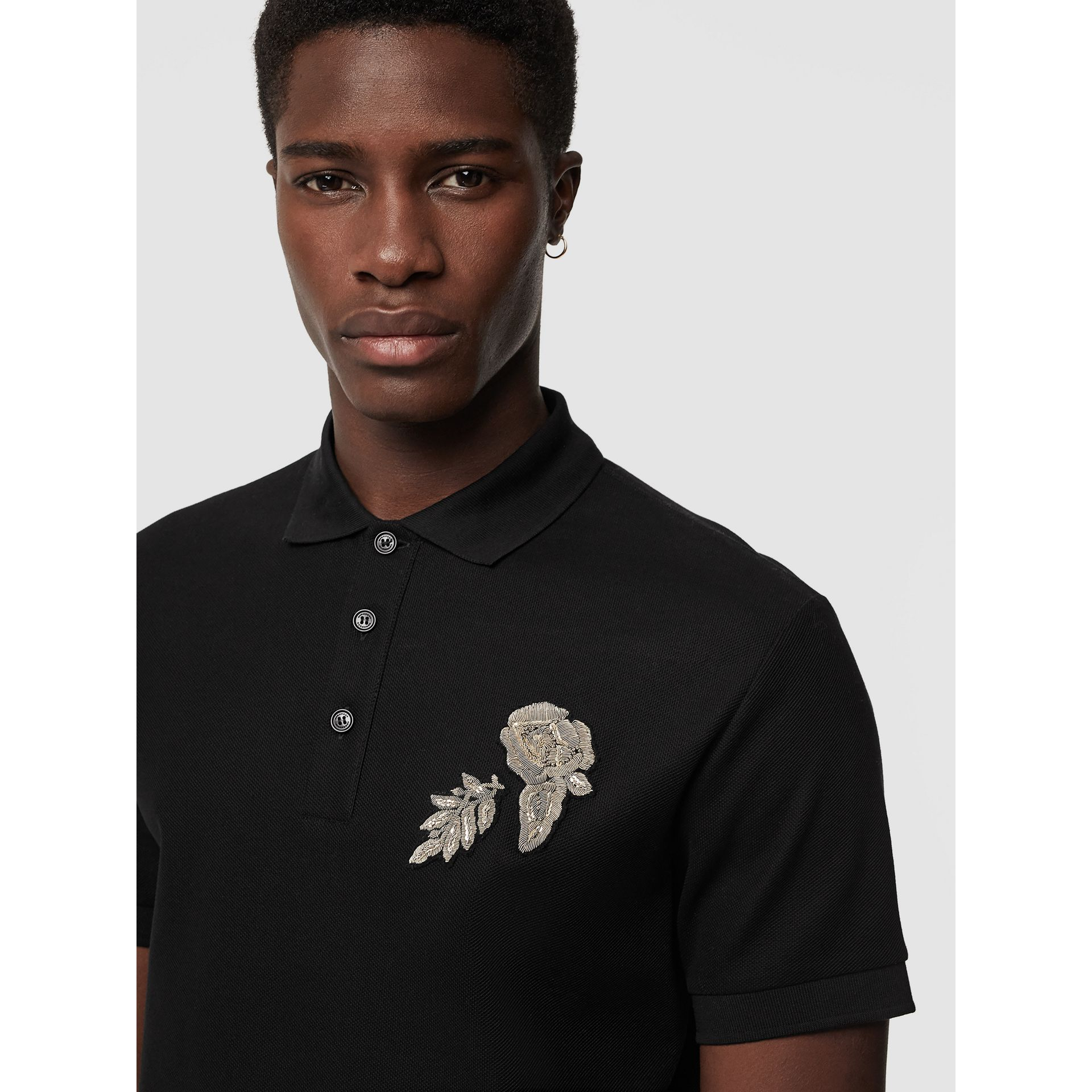 Bullion Floral Cotton Piqué Polo Shirt in Black - Men | Burberry Canada - gallery image 1