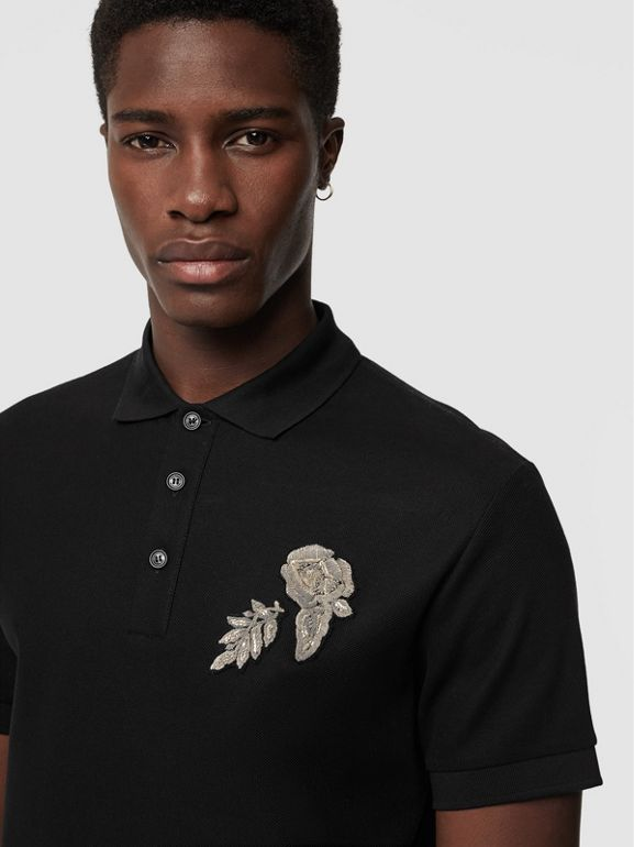 Bullion Floral Cotton Piqué Polo Shirt in Black - Men | Burberry - cell image 1