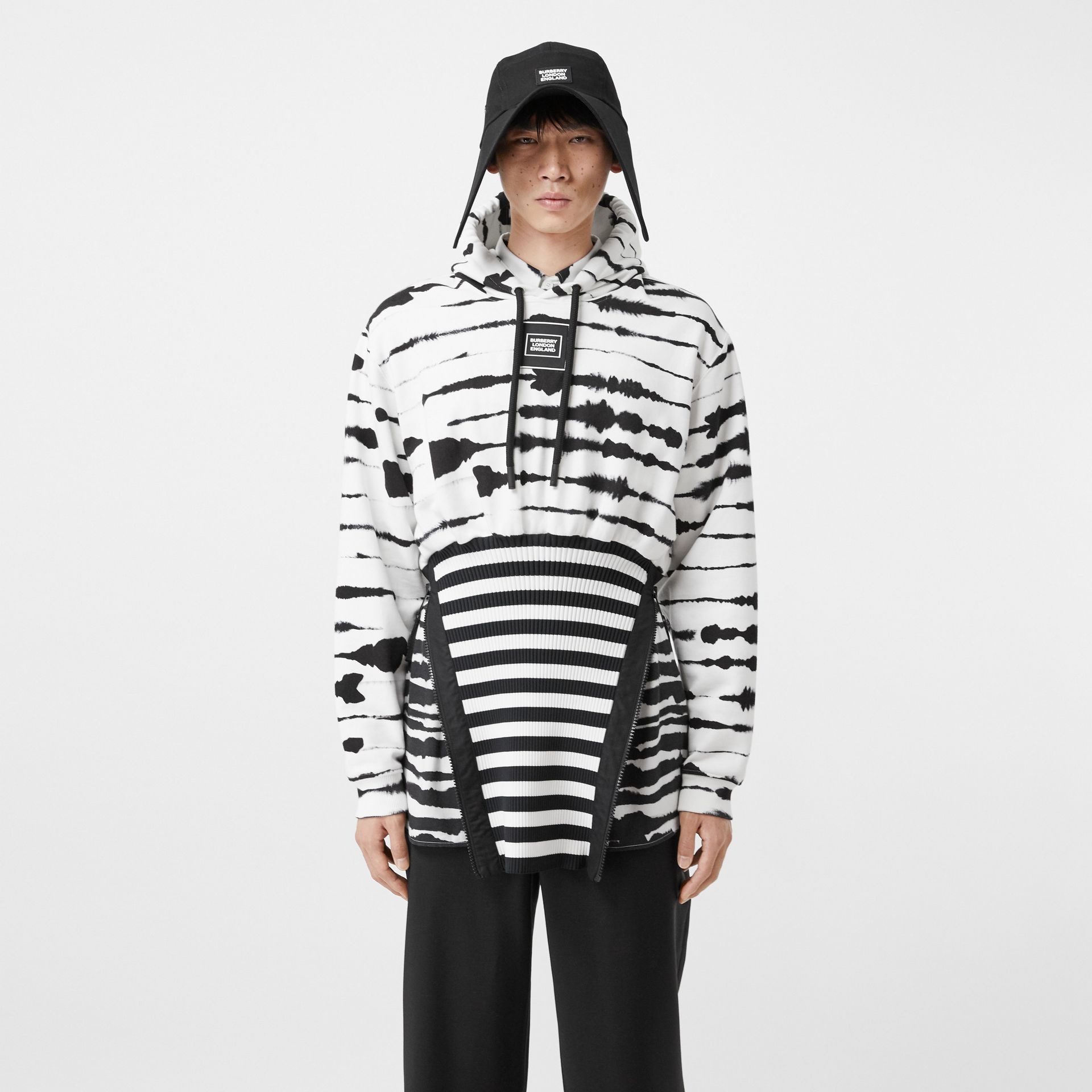 Reconstructed Watercolour Print Cotton Hoodie in Monochrome | Burberry - gallery image 6