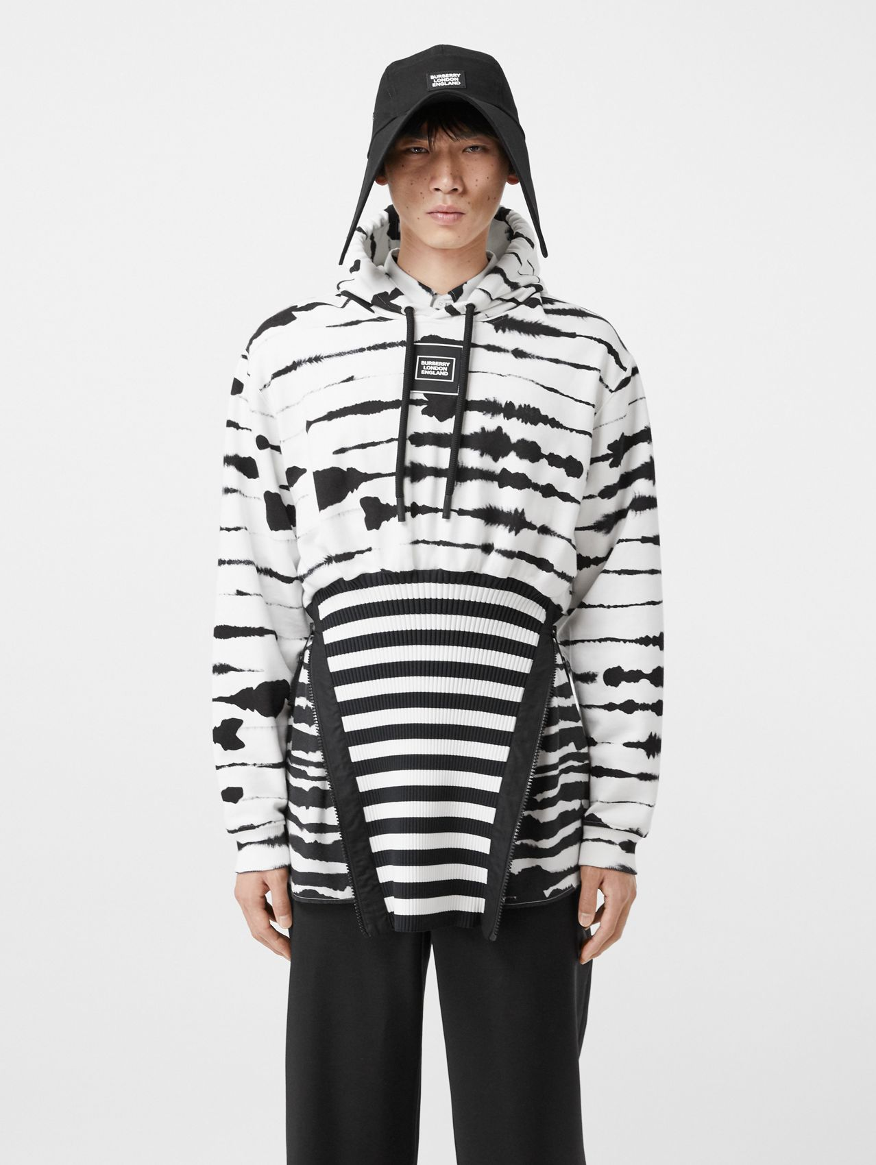 Reconstructed Watercolour Print Cotton Hoodie in Monochrome