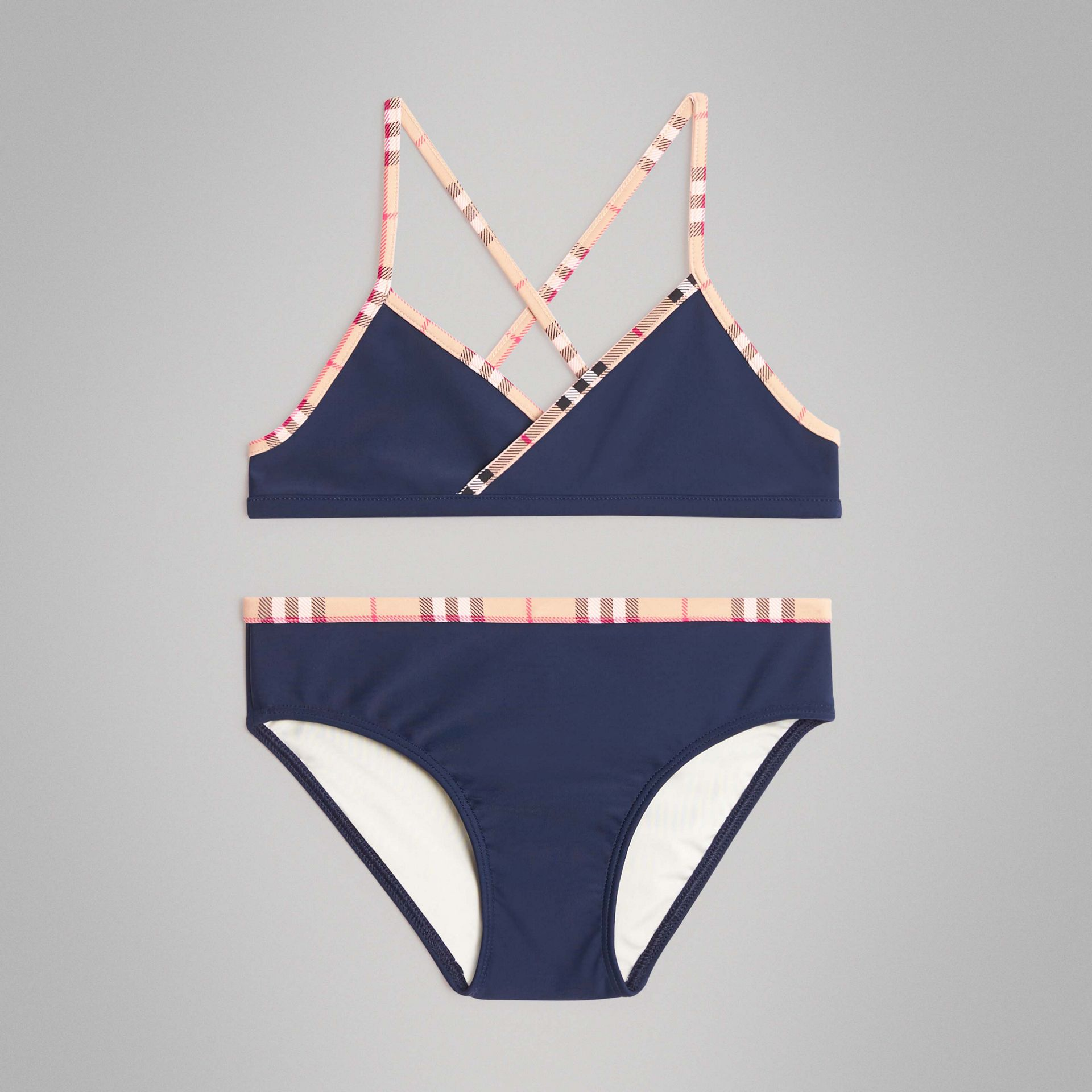 Check Trim Bikini in Navy | Burberry Australia - gallery image 2