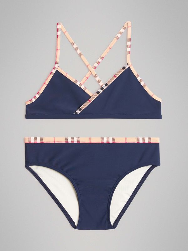 Check Trim Bikini in Navy - Girl | Burberry - cell image 2