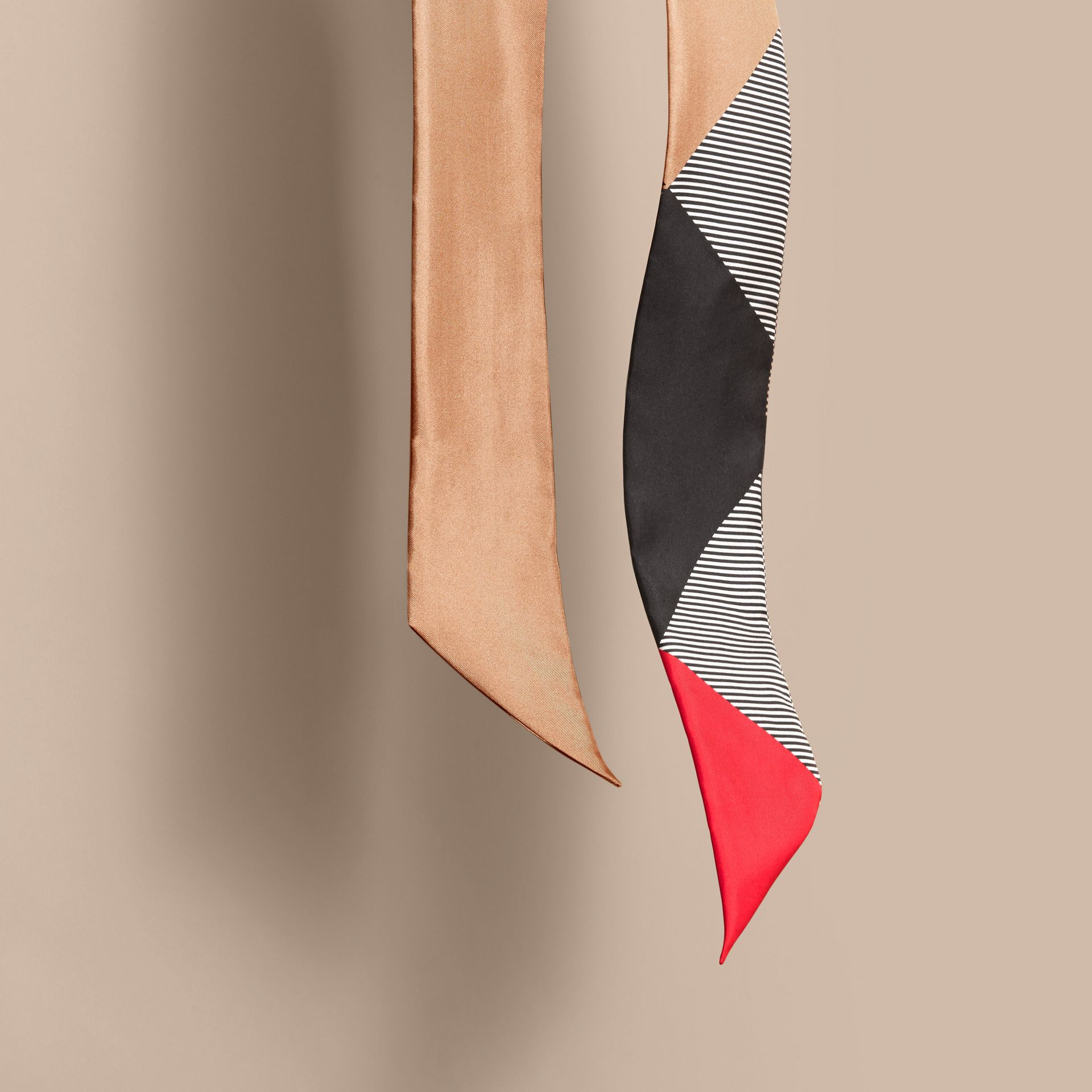 Colour Block and Striped Silk Slim Scarf in Camel - Women | Burberry - gallery image 4
