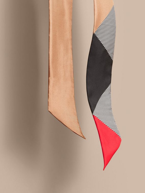 Colour Block and Striped Silk Slim Scarf in Camel - Women | Burberry - cell image 3