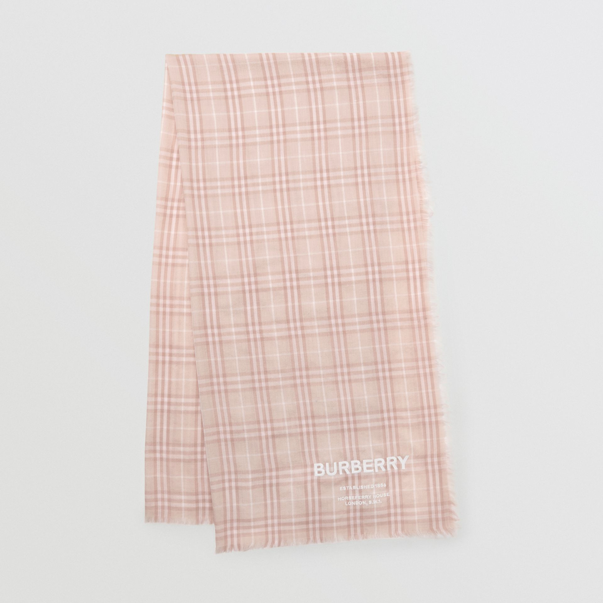 Embroidered Vintage Check Lightweight Cashmere Scarf in Soft Peach | Burberry United States - gallery image 0