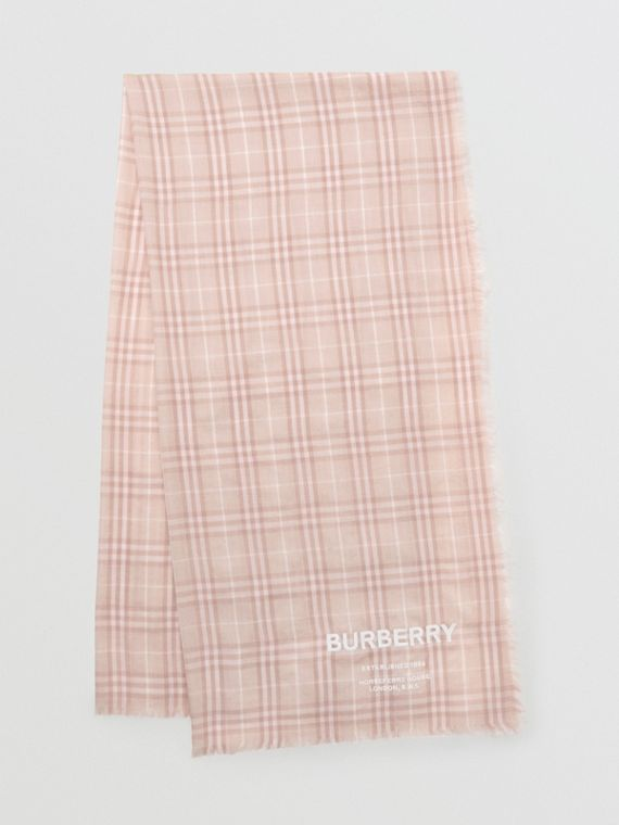 Embroidered Vintage Check Lightweight Cashmere Scarf in Soft Peach