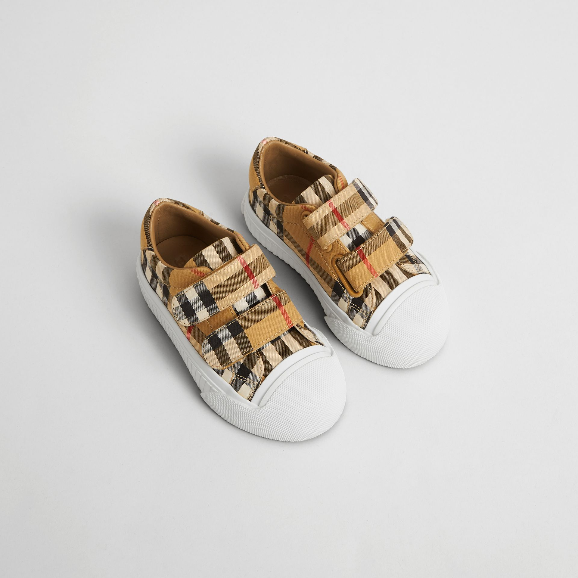 Vintage Check and Leather Sneakers in Optic White/black - Children | Burberry United Kingdom - gallery image 0