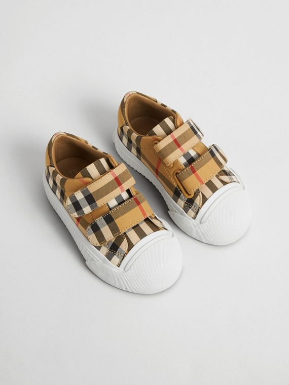 Vintage Check and Leather Sneakers in Optic White/black