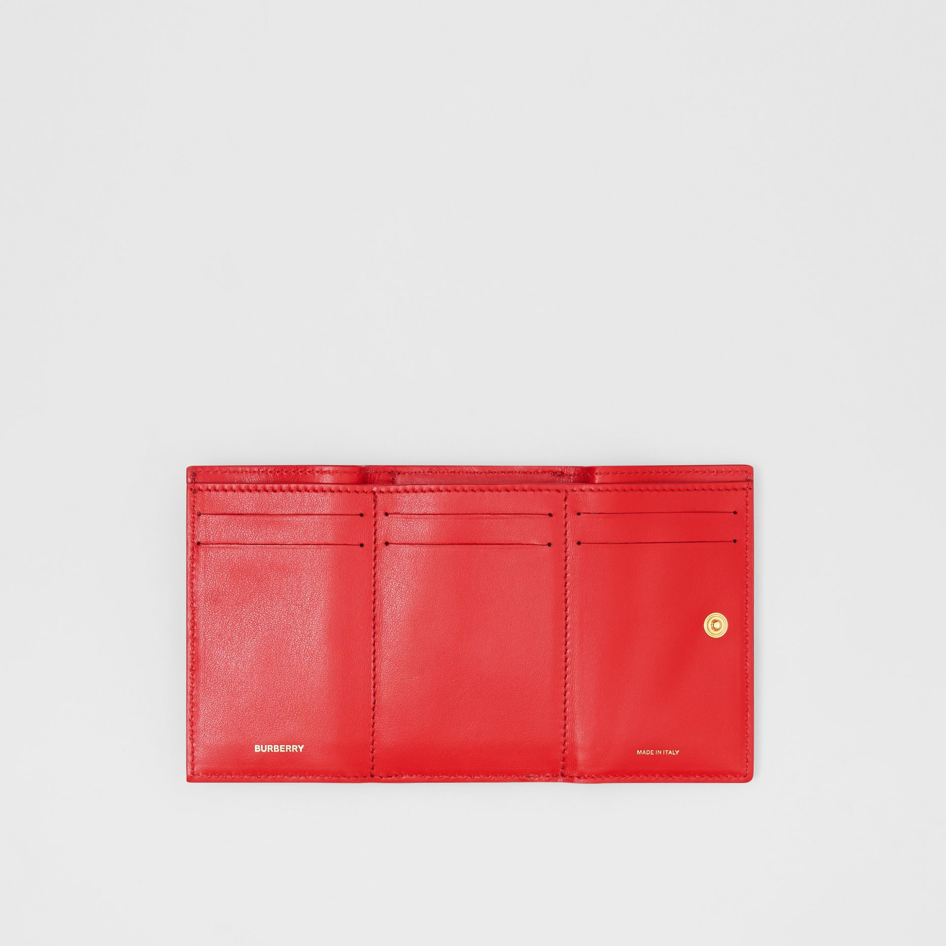 Small Grainy Leather Folding Wallet in Bright Red - Women | Burberry Singapore - gallery image 5