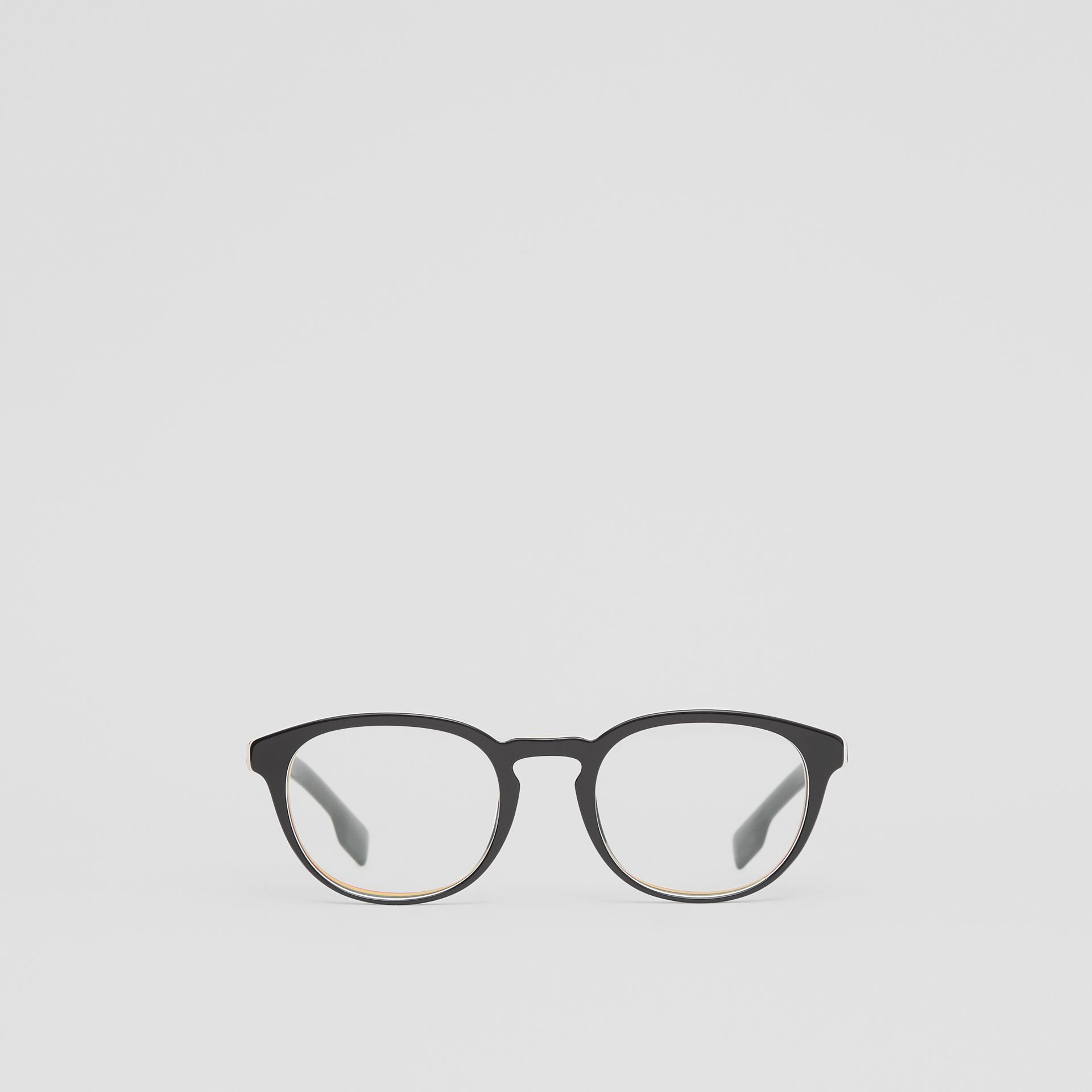 Icon Stripe Detail Round Optical Frames in Black - Men | Burberry - gallery image 0