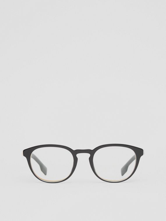 Icon Stripe Detail Round Optical Frames in Black