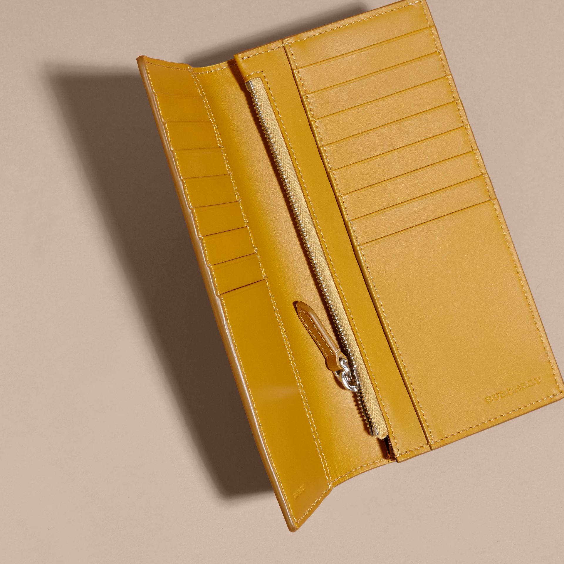 London Leather Continental Wallet in Larch Yellow - gallery image 4