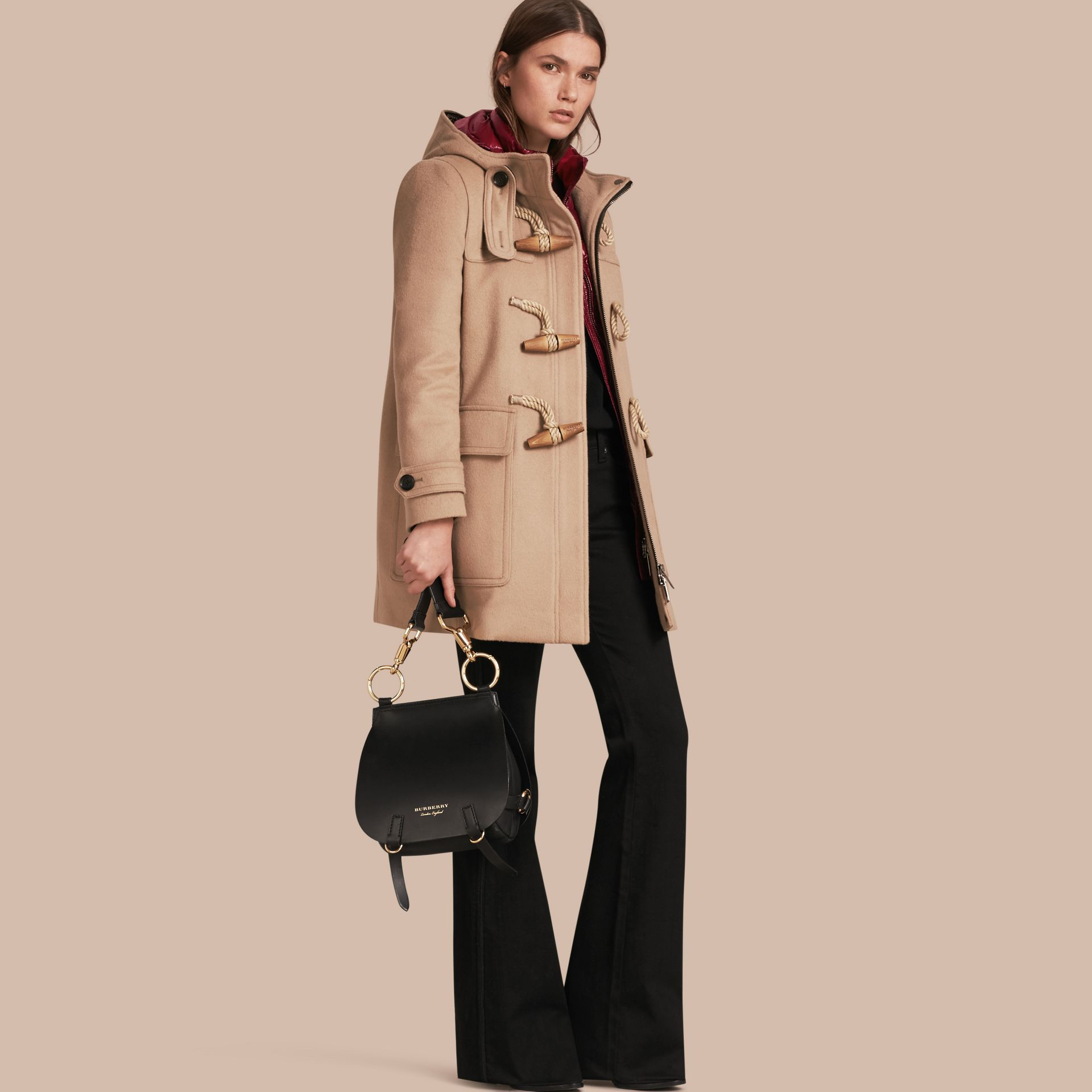 Wool Duffle Coat with Detachable Hooded Down-filled Warmer in Camel - gallery image 1