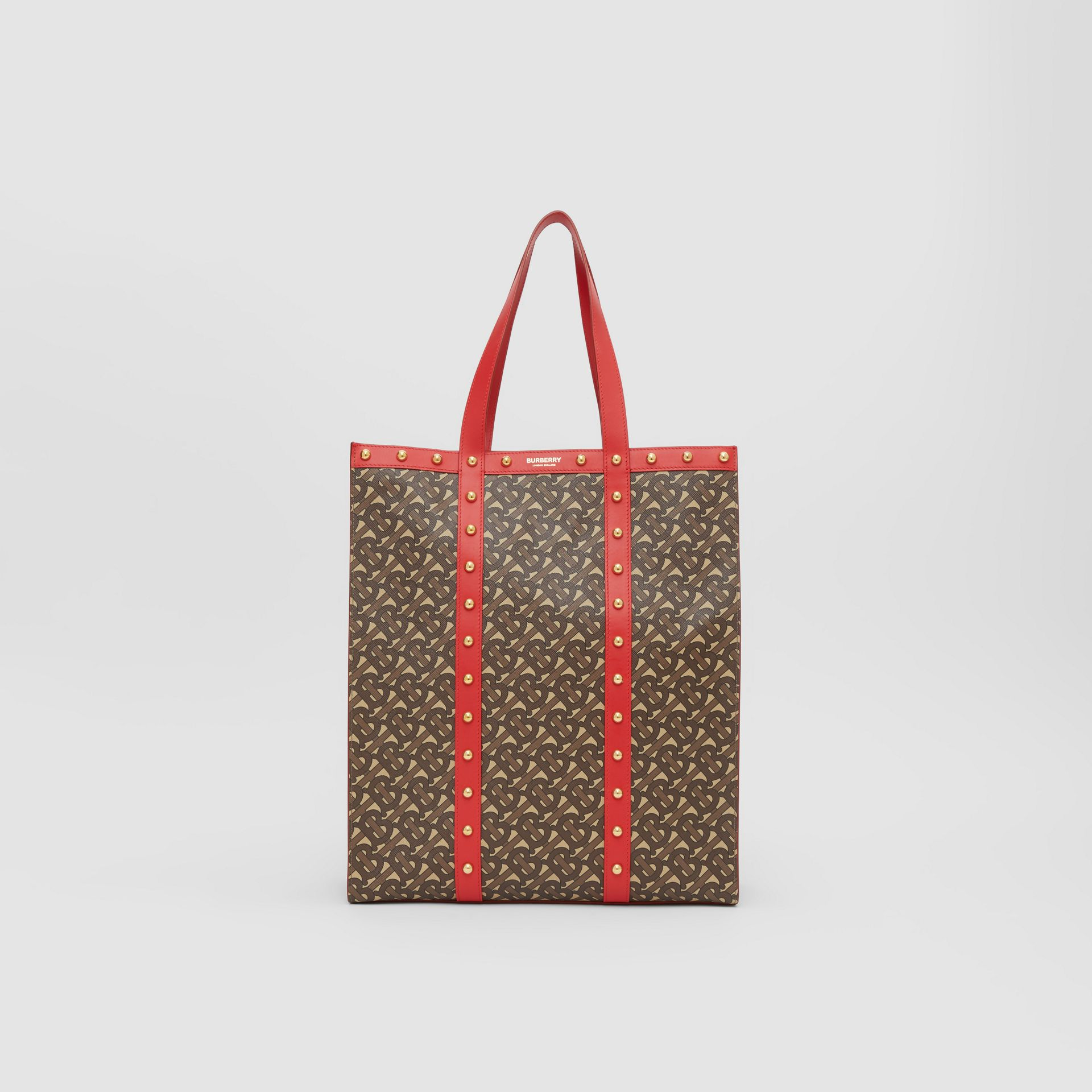 Monogram Print E-canvas Portrait Tote Bag in Bright Red - Women | Burberry - gallery image 0