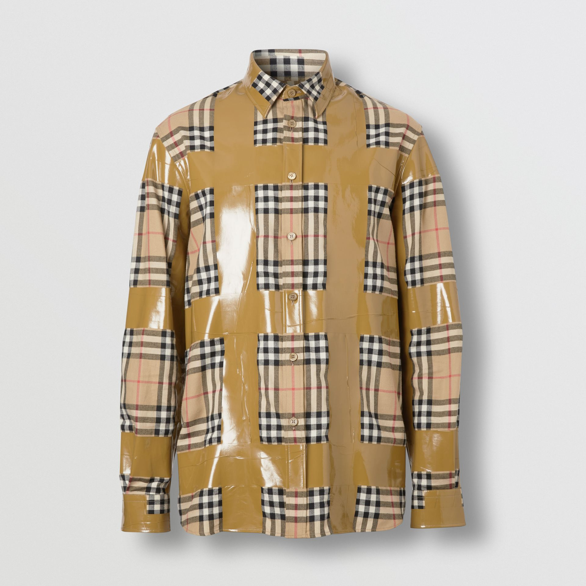 Tape Detail Vintage Check Cotton Oversized Shirt in Archive Beige - Men | Burberry United Kingdom - gallery image 3