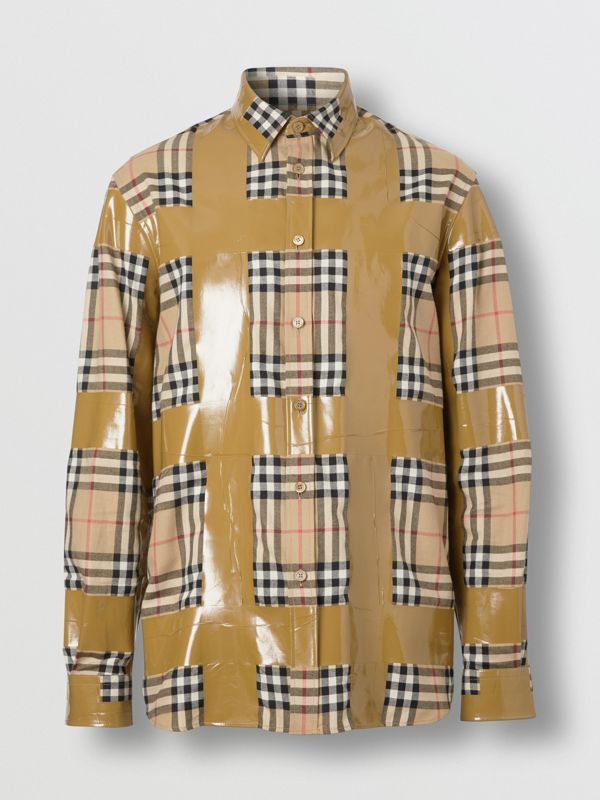 Tape Detail Vintage Check Cotton Oversized Shirt in Archive Beige - Men | Burberry United Kingdom - cell image 3