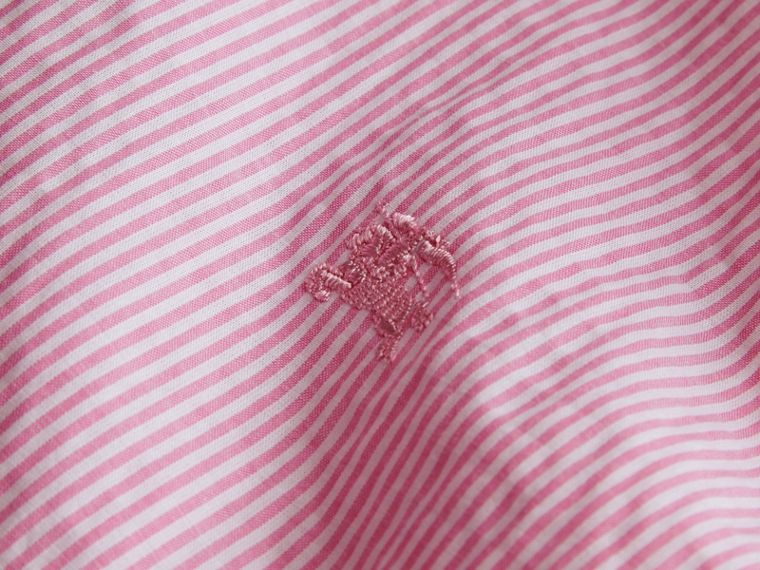 Striped Cotton Blend Shirt in Pale Pink - Men | Burberry - cell image 1
