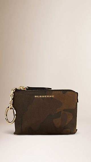 Camouflage Print Suede Coin Case