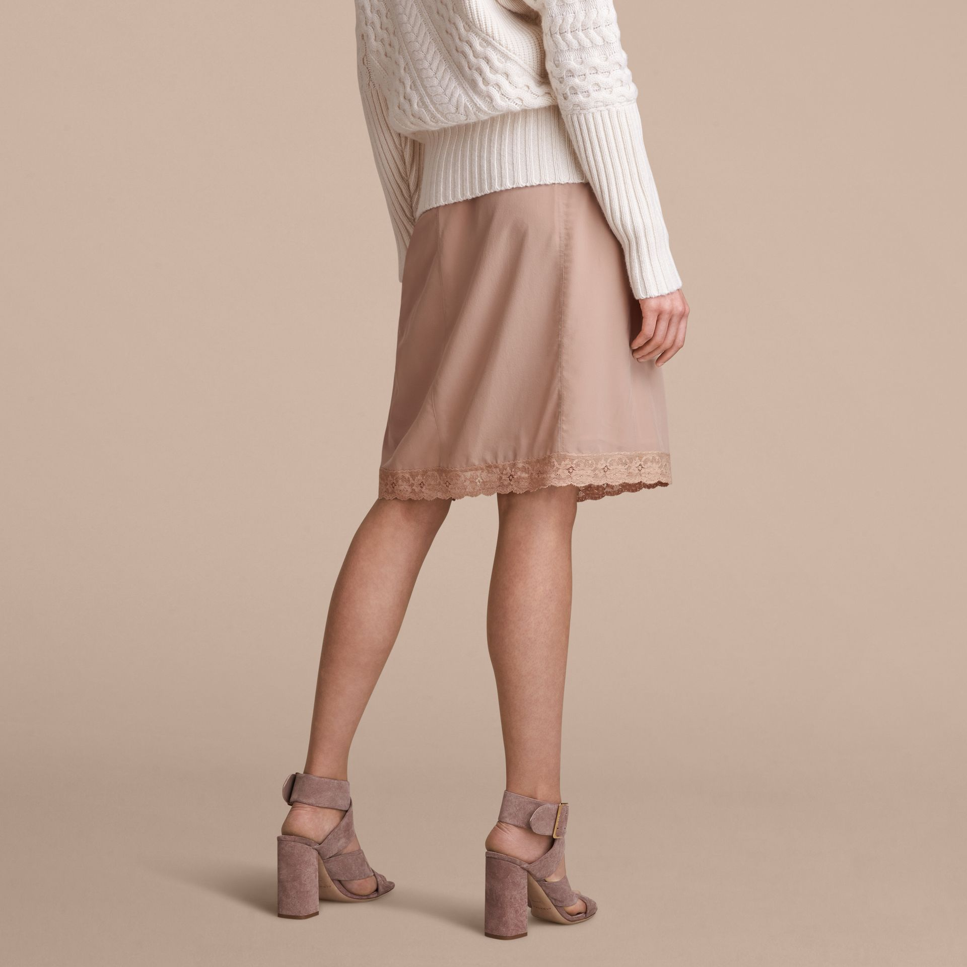 Lace Trim Silk Skirt - gallery image 3