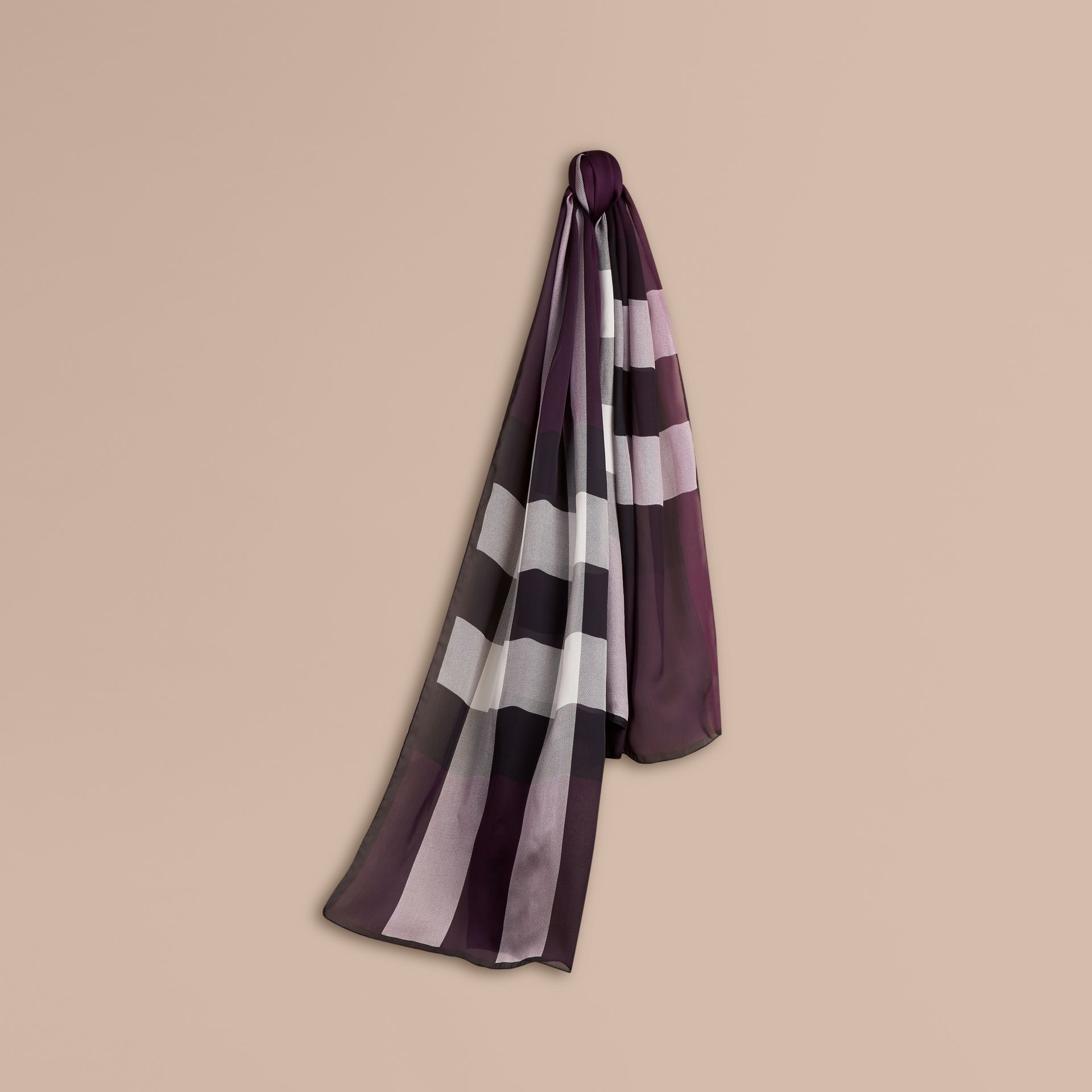 Lightweight Check Silk Scarf in Aubergine - gallery image 1