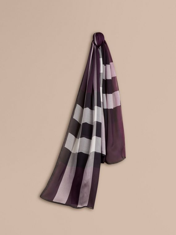Lightweight Check Silk Scarf Aubergine