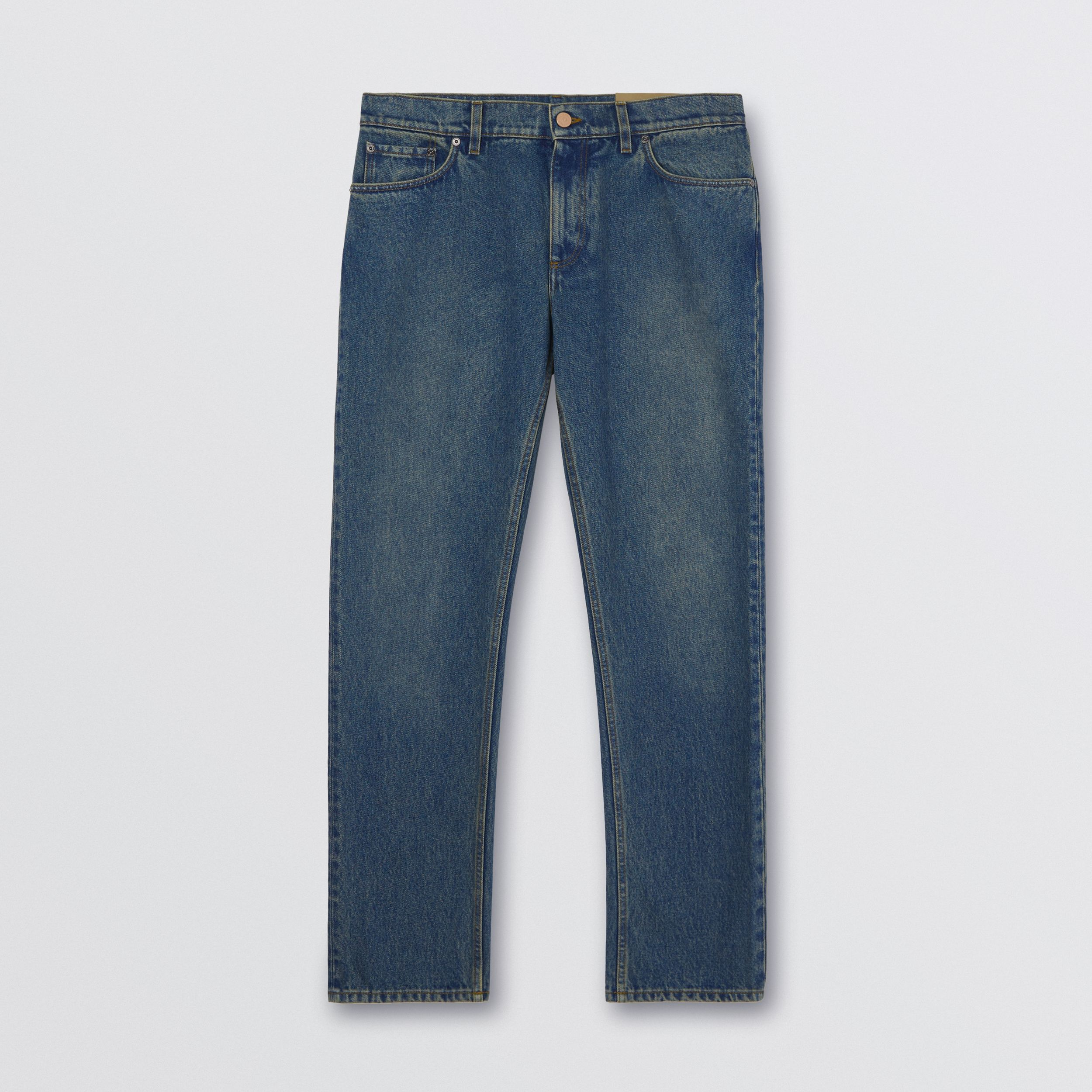 Straight Fit Washed Jeans in Indigo - Men | Burberry - 4