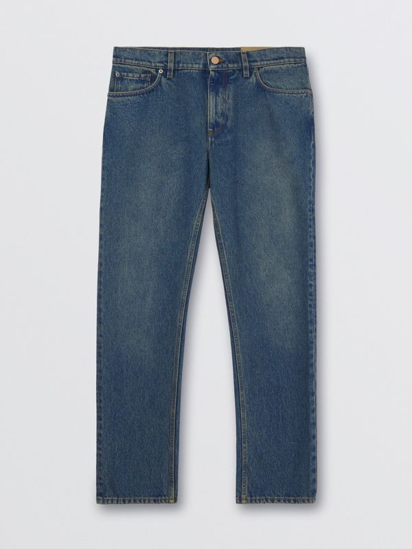 Straight Fit Washed Jeans in Indigo - Men | Burberry - cell image 3