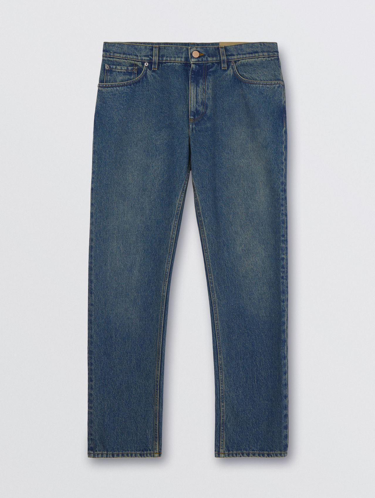 Straight Fit Washed Jeans in Indigo