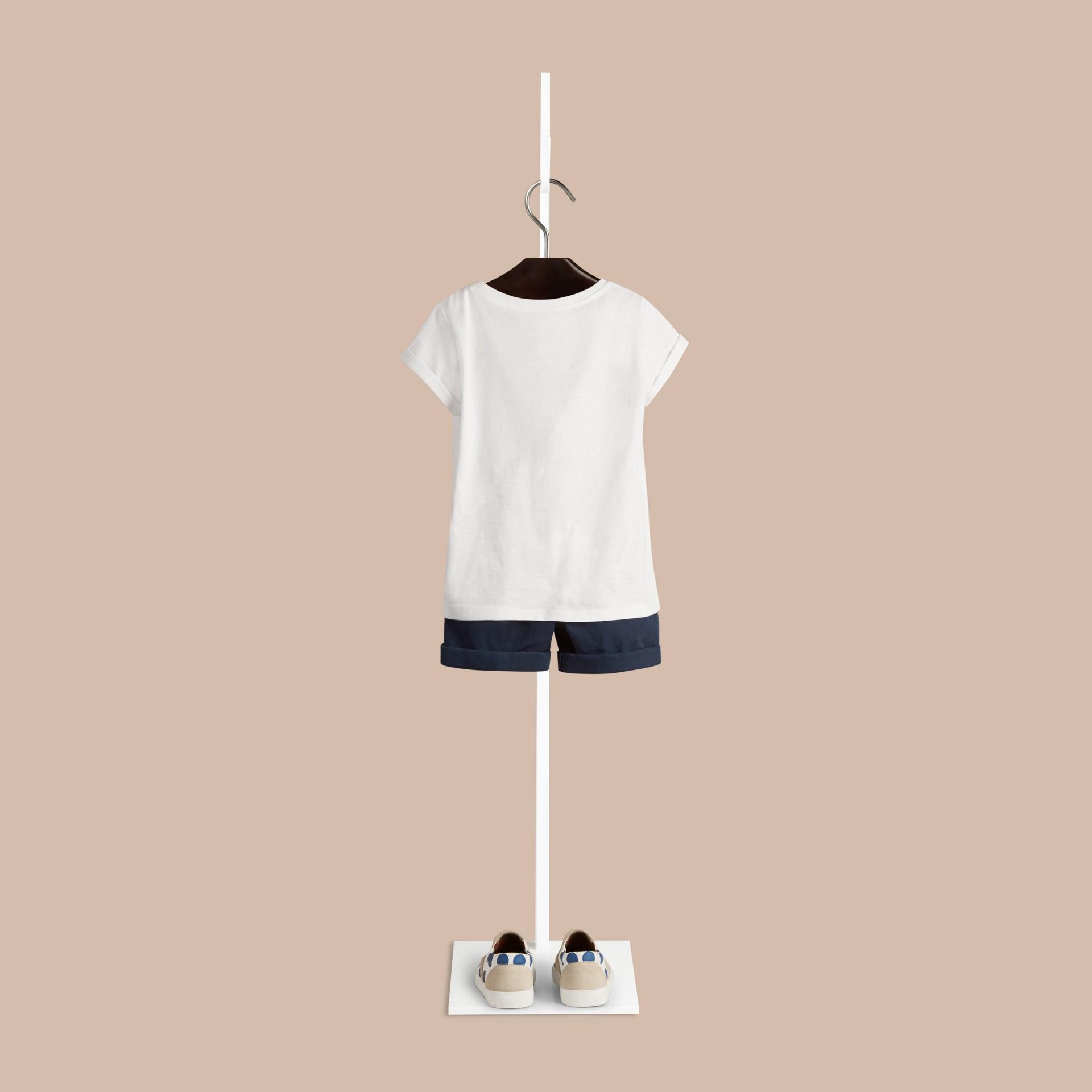 Weiss Baumwoll-T-Shirt mit Hello Sunshine-Druck - Galerie-Bild 2