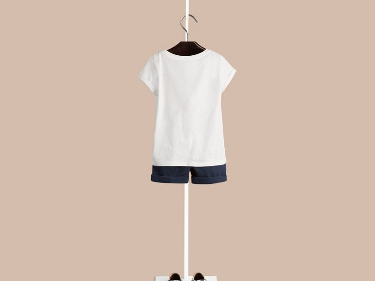 Bianco T-shirt in cotone con stampa Hello Sunshine - cell image 1
