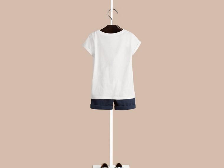 Weiss Baumwoll-T-Shirt mit Hello Sunshine-Druck - cell image 1