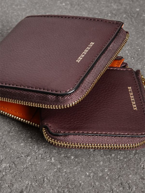 Grainy Leather Square Ziparound Wallet in Deep Claret - Women | Burberry - cell image 3