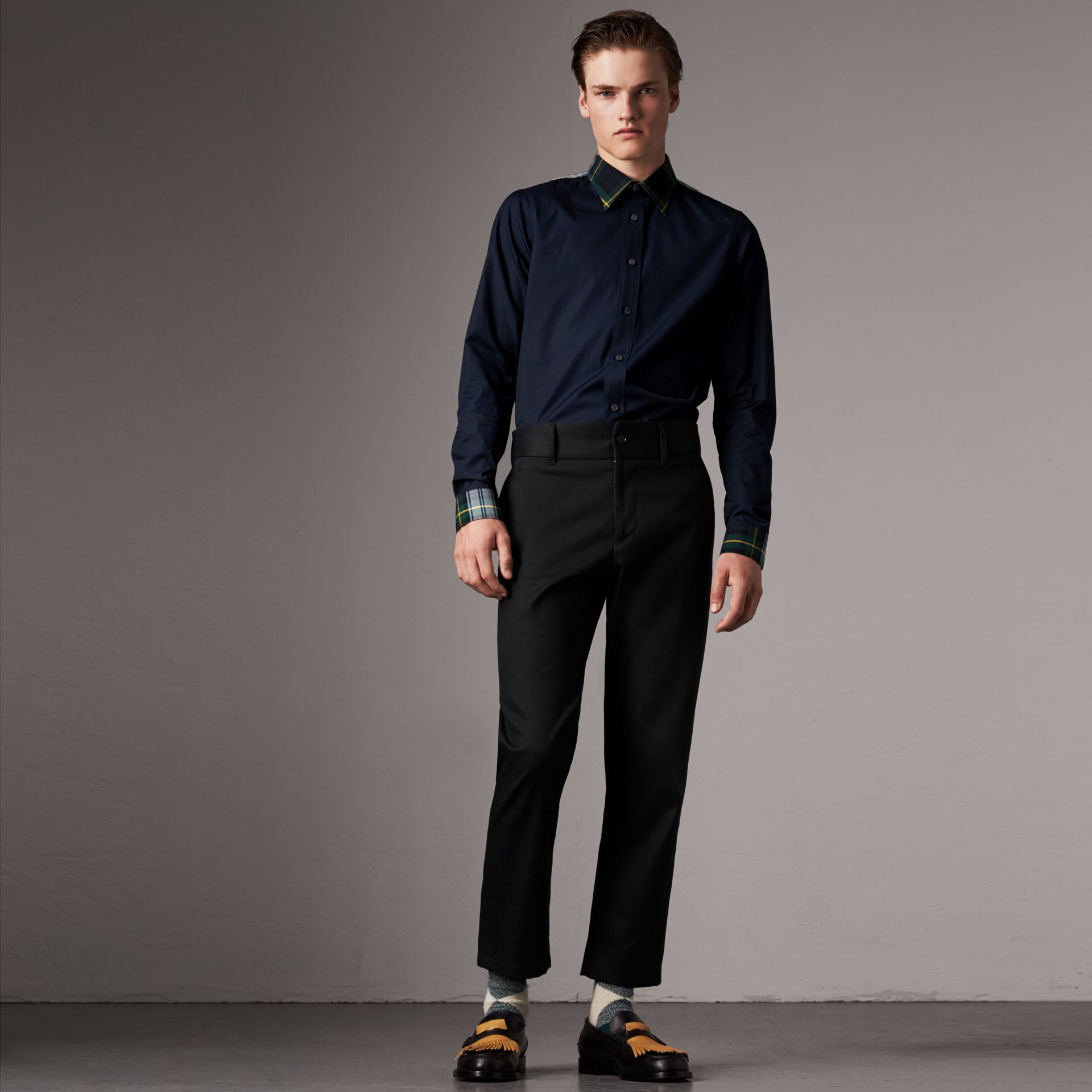 Tartan Cotton Gabardine Detail Cotton Poplin Shirt in Navy - Men | Burberry - gallery image 0