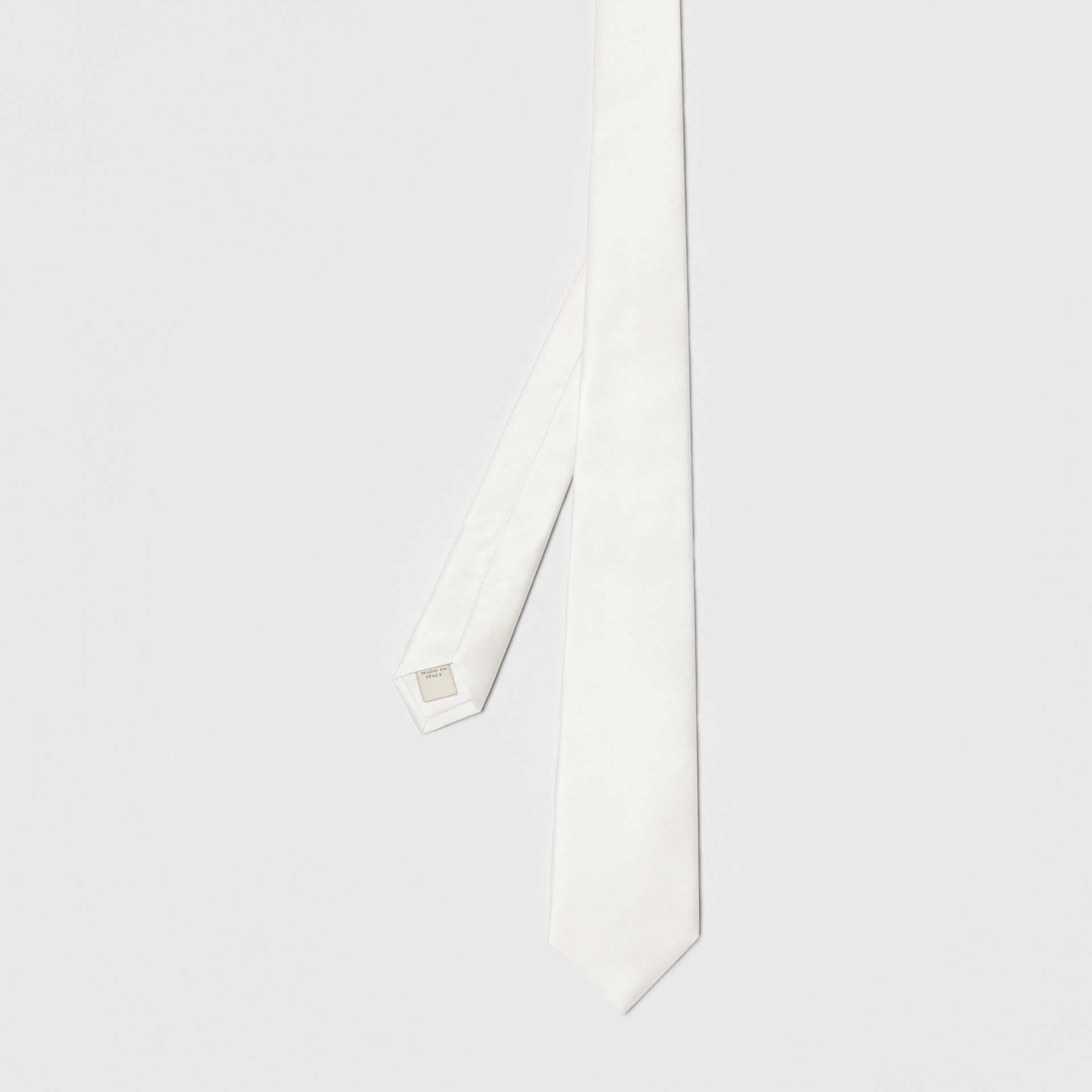 Modern Cut Silk Satin Tie in White - Men | Burberry - gallery image 4