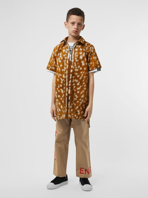 Short-sleeve Deer Print Cotton Shirt in Honey | Burberry - cell image 2