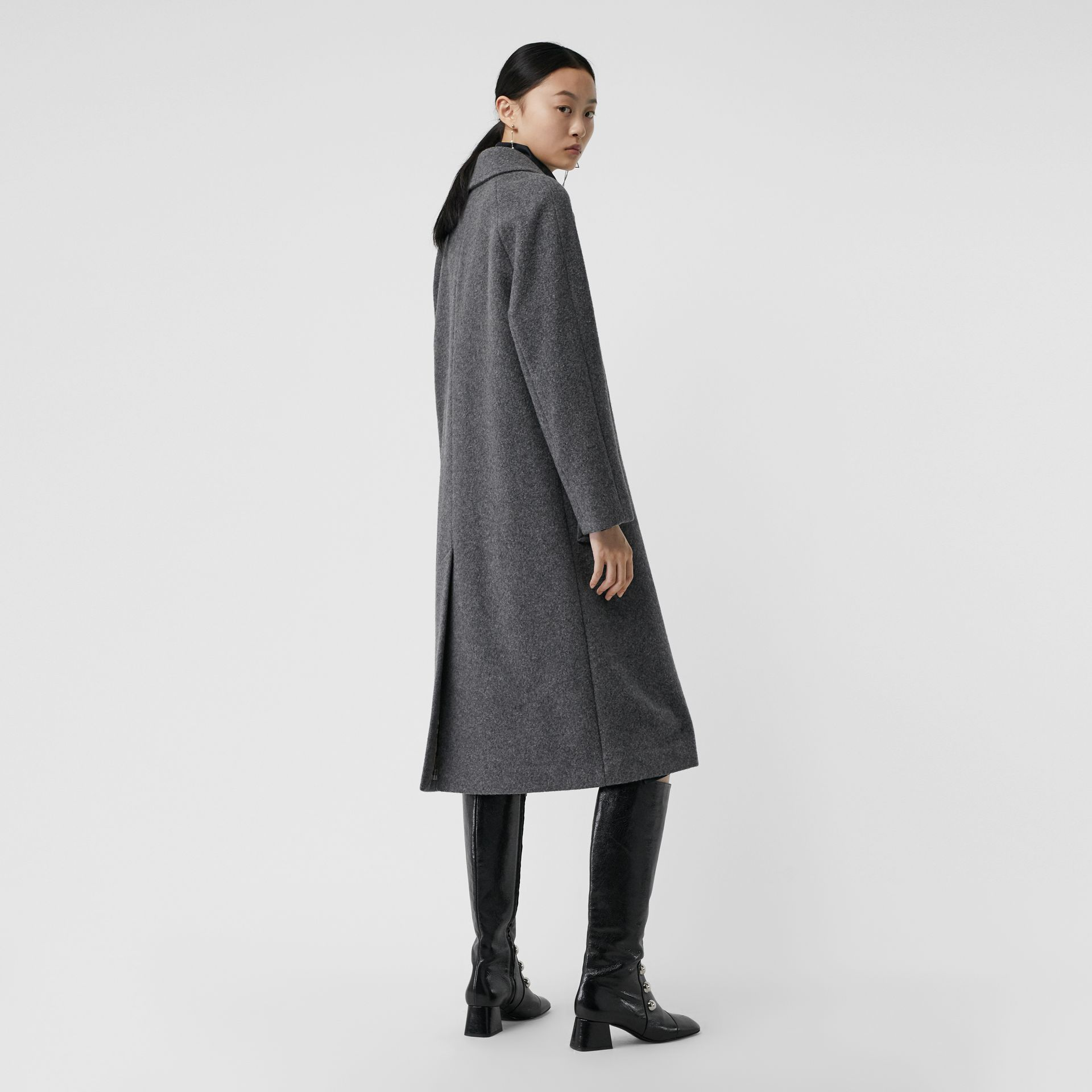 Wool Blend Tailored Coat in Mid Grey Melange - Women | Burberry - gallery image 2