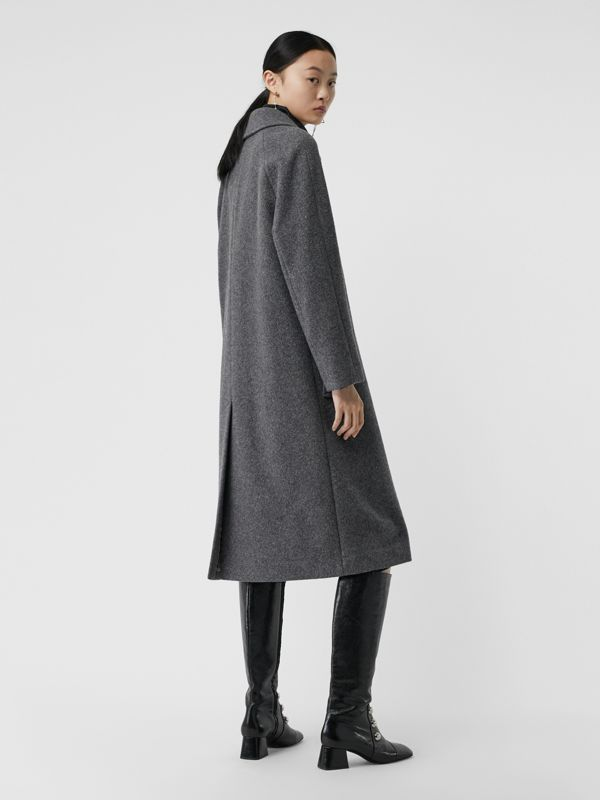 Wool Blend Tailored Coat in Mid Grey Melange - Women | Burberry - cell image 2