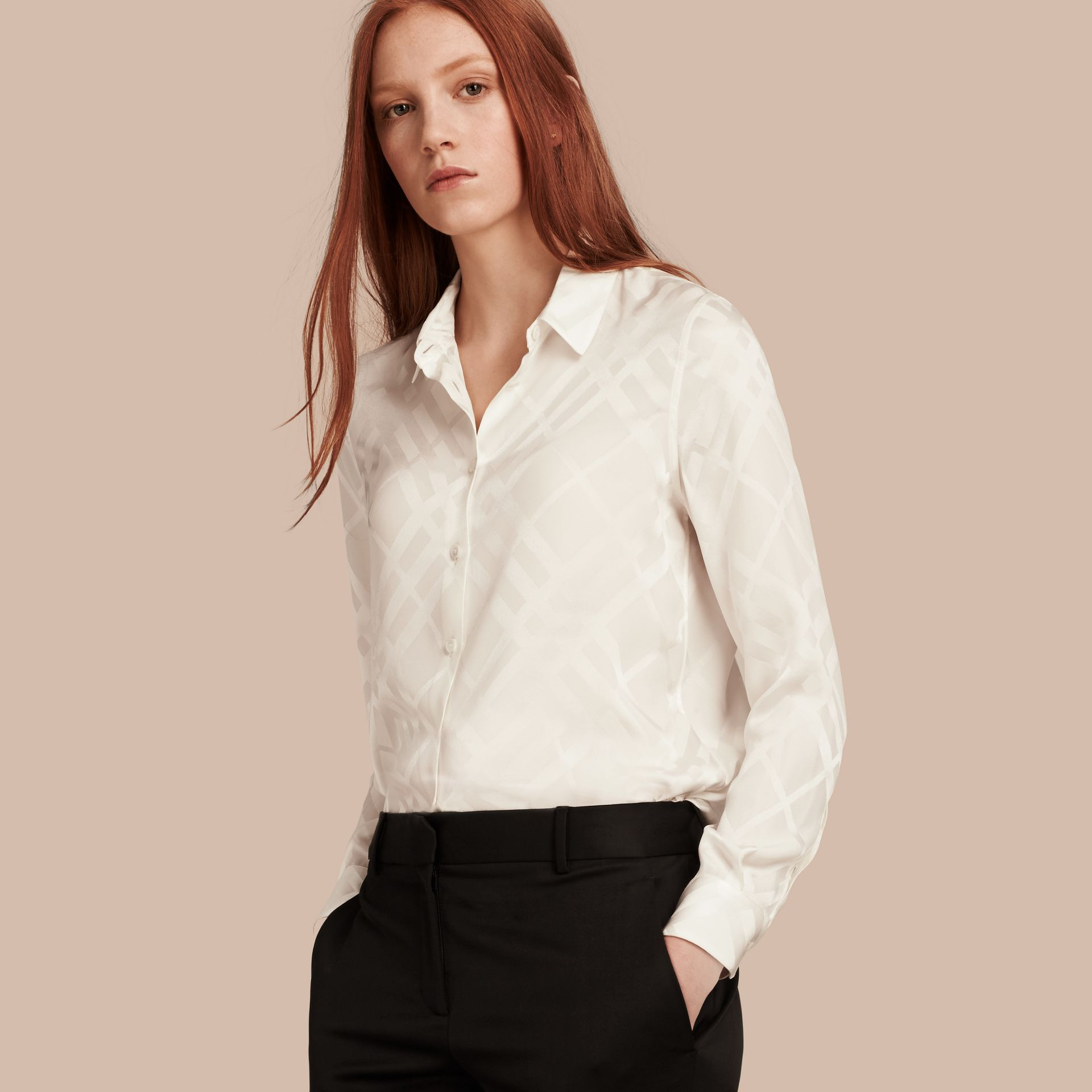 Tonal Check Silk Shirt White - gallery image 1