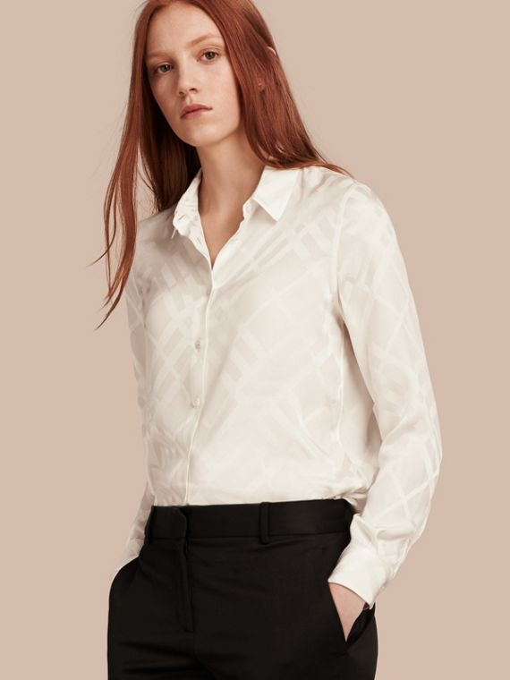 Tonal Check Silk Shirt White