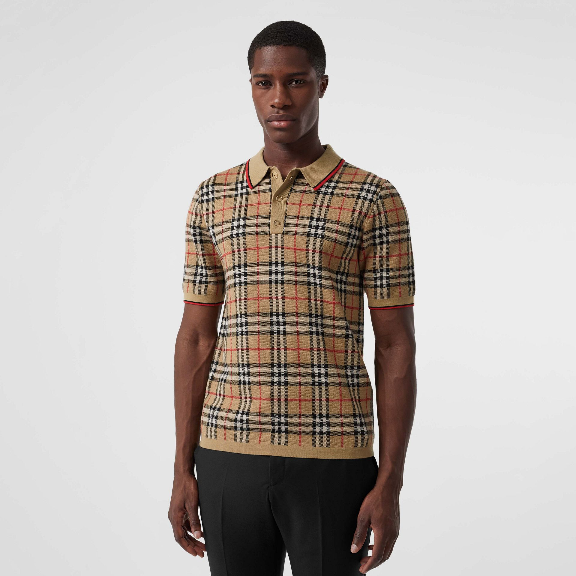 Vintage Check Merino Wool Polo Shirt in Archive Beige - Men | Burberry United States - gallery image 0