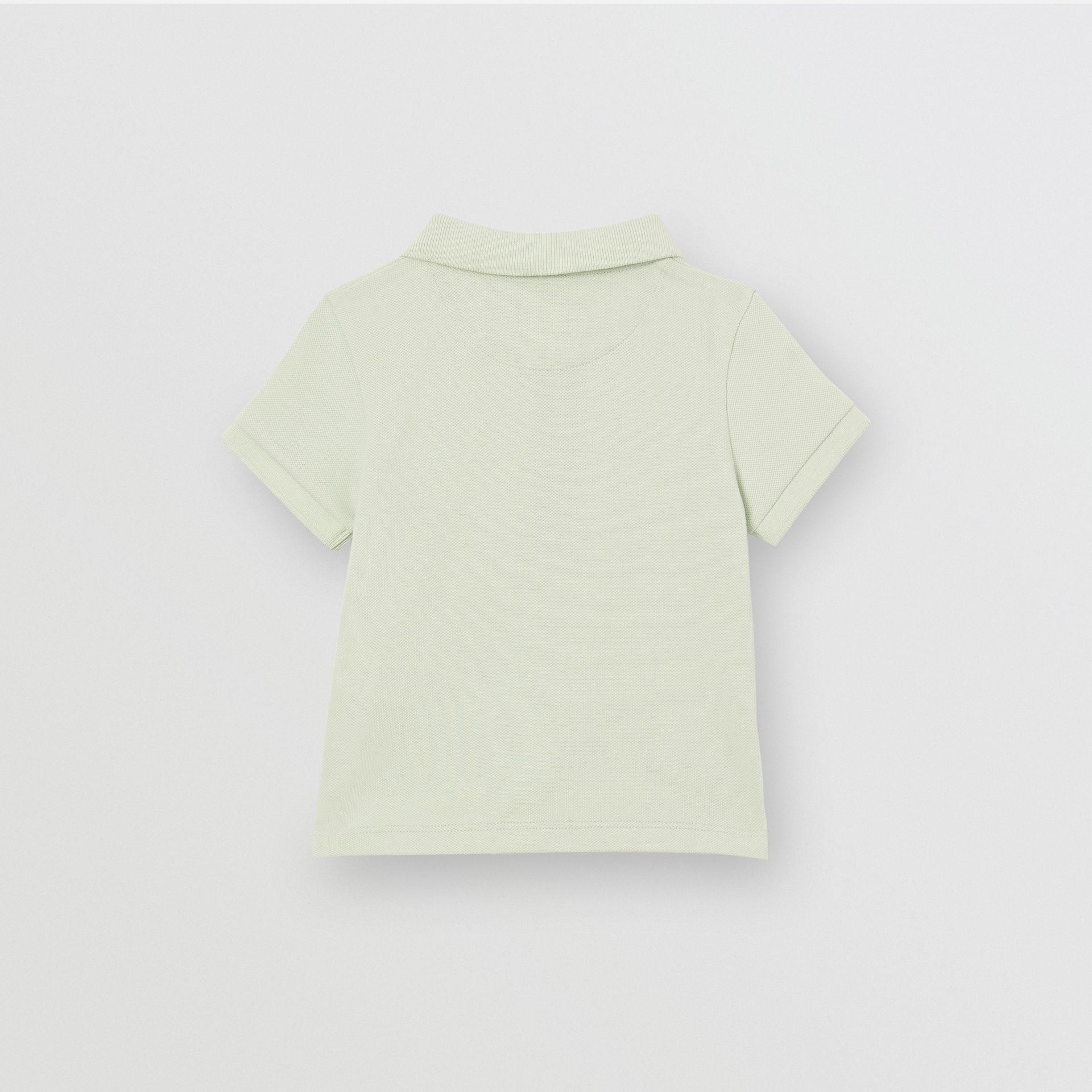 Icon Stripe Placket Cotton Piqué Polo Shirt in Pale Mint - Children | Burberry Singapore - gallery image 3