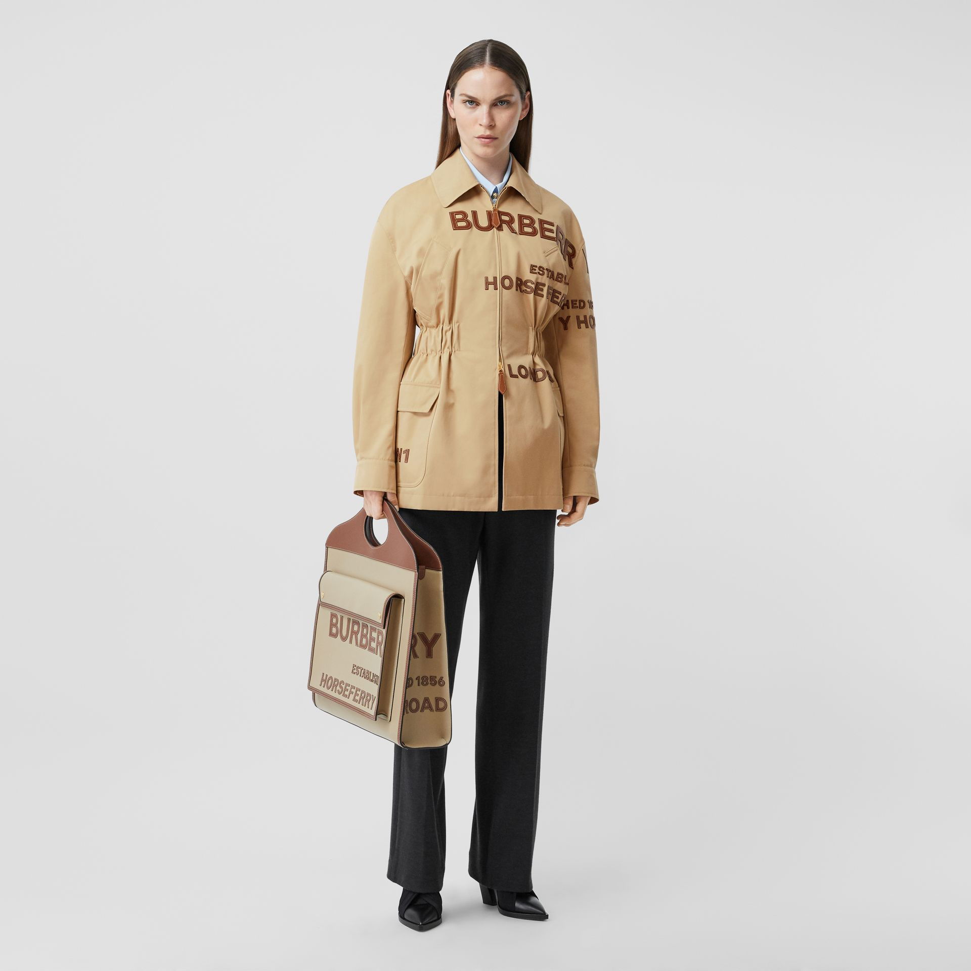 Leather Horseferry Appliqué Cotton Riding Jacket in Honey - Women | Burberry Australia - gallery image 7