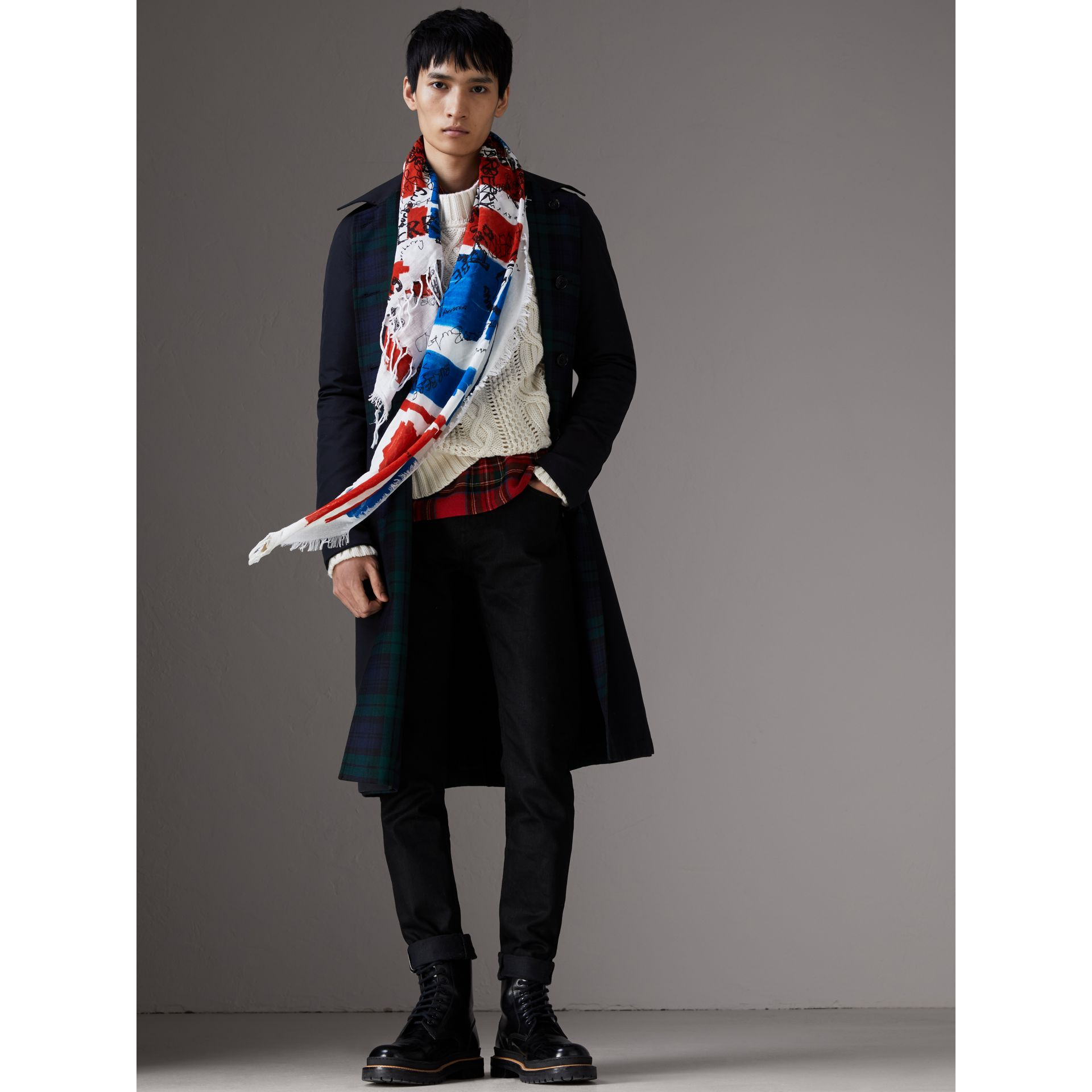 Doodle Print and Colour-block Check Silk Cotton Scarf in Red/ink Blue | Burberry Singapore - gallery image 3