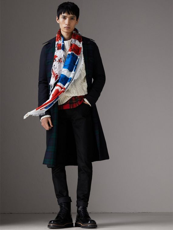 Doodle Print and Colour-block Check Silk Cotton Scarf in Red/ink Blue | Burberry - cell image 3