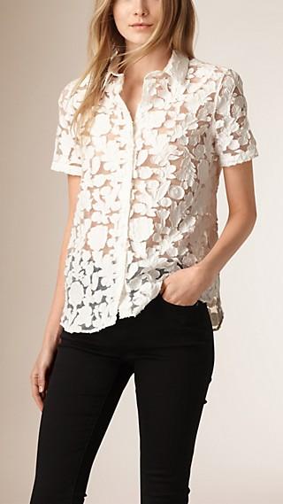 Short-sleeved Fil Coupé Cotton Silk Shirt
