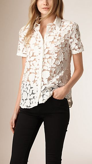 Short-sleeved Fil Coupé Cotton Silk Shirt