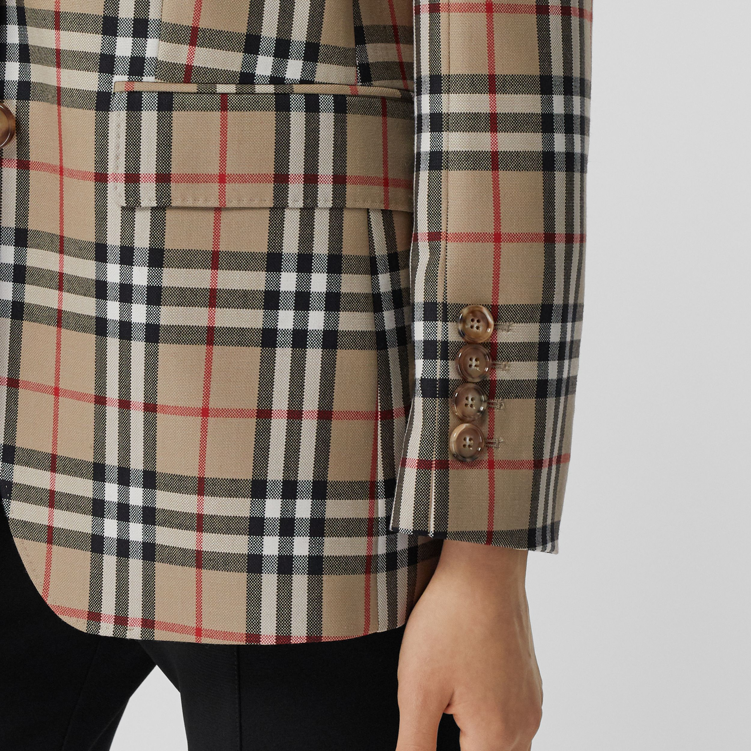 Vintage Check Wool Tailored Jacket in Archive Beige - Women | Burberry - 4