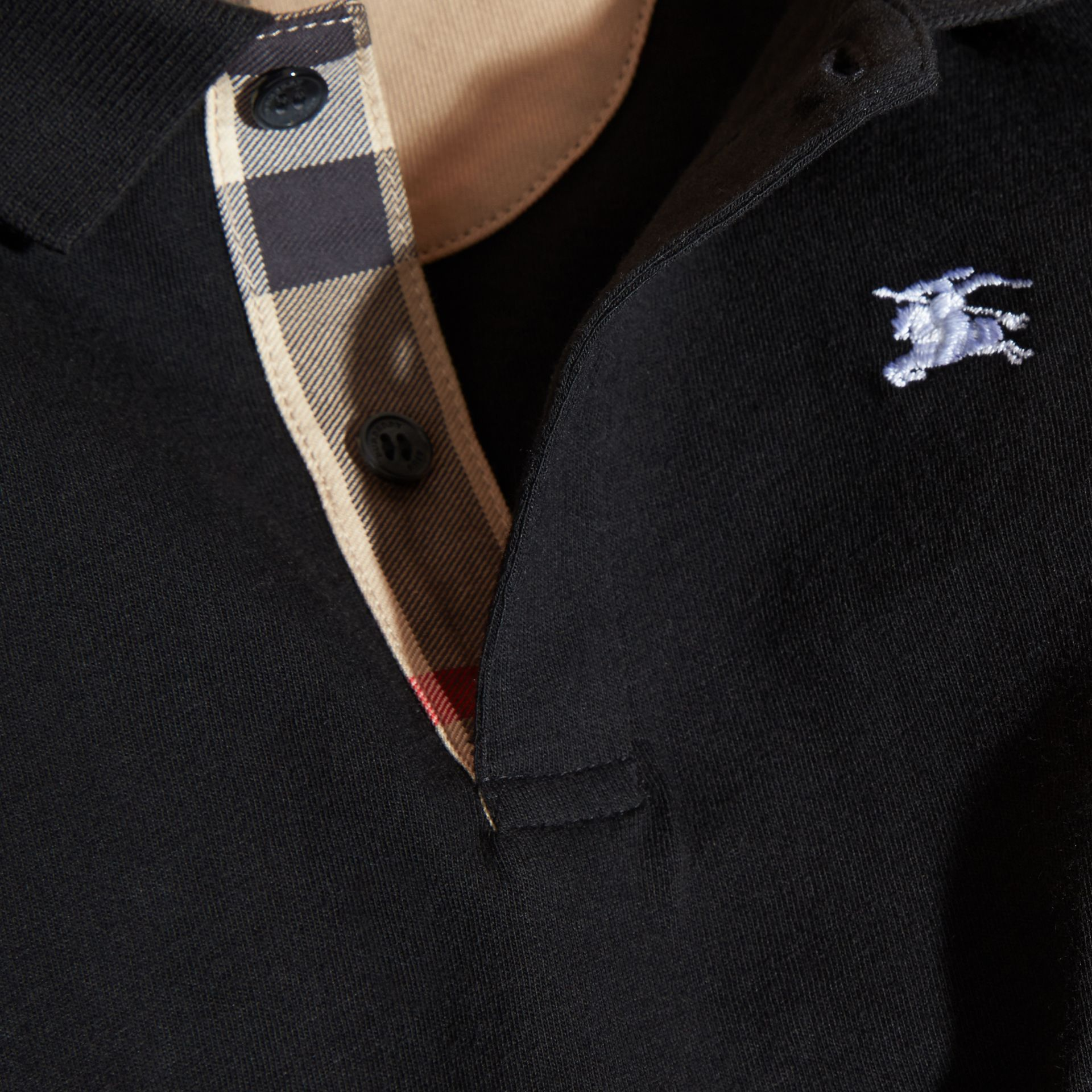 Long-sleeve Cotton Jersey Polo Shirt in Black - Boy | Burberry - gallery image 2