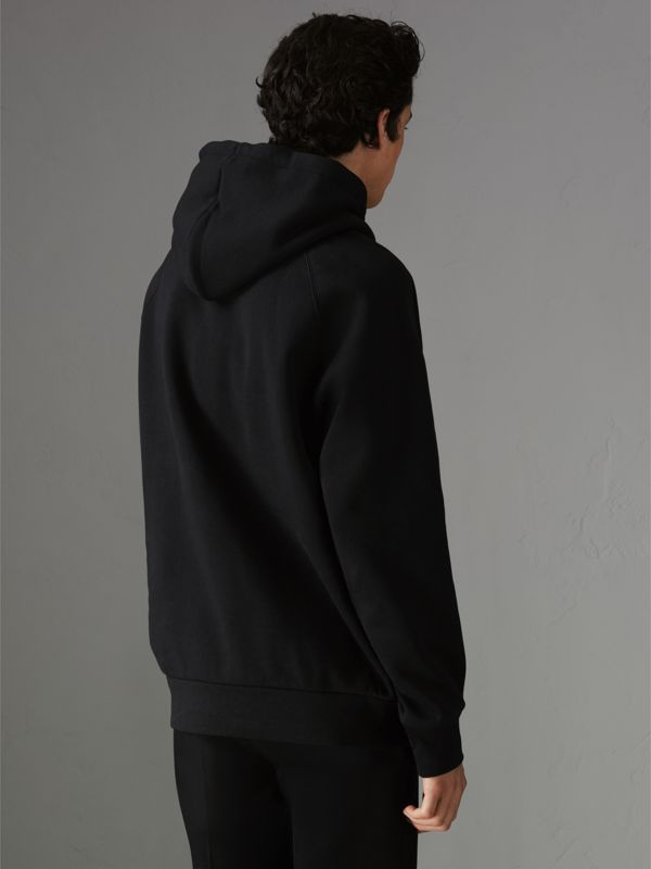Embroidered Archive Logo Jersey Hoodie in Black - Men | Burberry United Kingdom - cell image 2